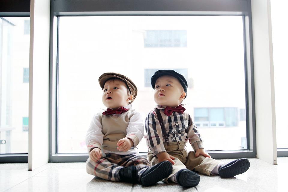 Tweeling bij het raam